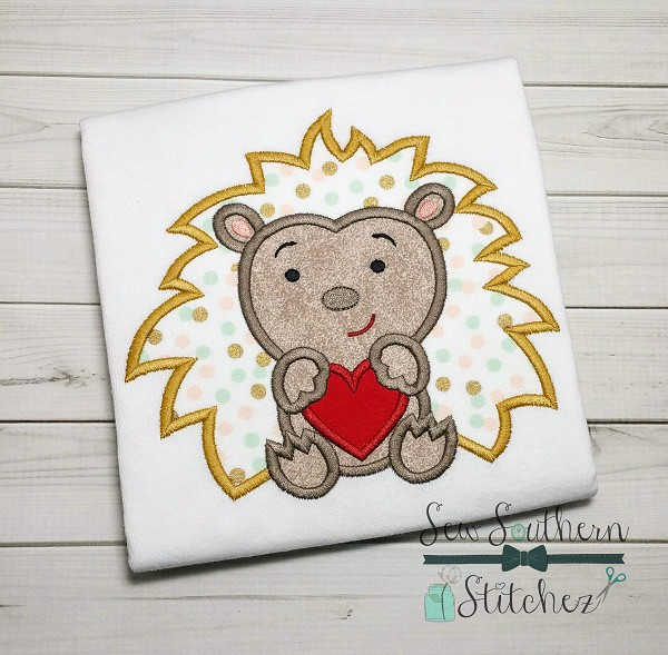 Valentine Headgehog Applique Design