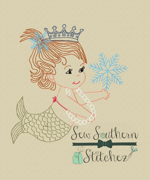 Vintage Sketched Mermaid Girl ~ Crowned Mermaid ~ Vintage~Sketch~Bean~Heirloom Stitch