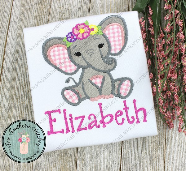 Floral Crown Elephant Applique Design ~ Safari Animal