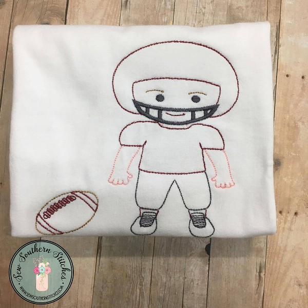 Vintage Football Player with Football ~ Vintage~Sketch~Bean~Heirloom Stitch ~ Sports