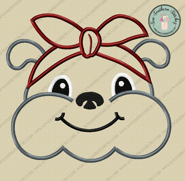 Headband Bulldog Applique Design ~ Satin Stitch Finish