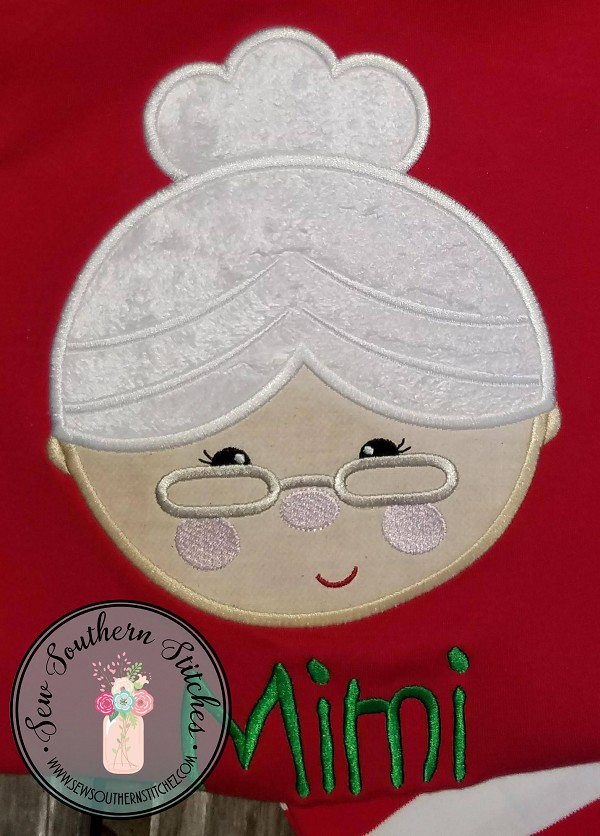 Mrs Claus Head Applique Design ~ Santa's Wife ~ Christmas Applique