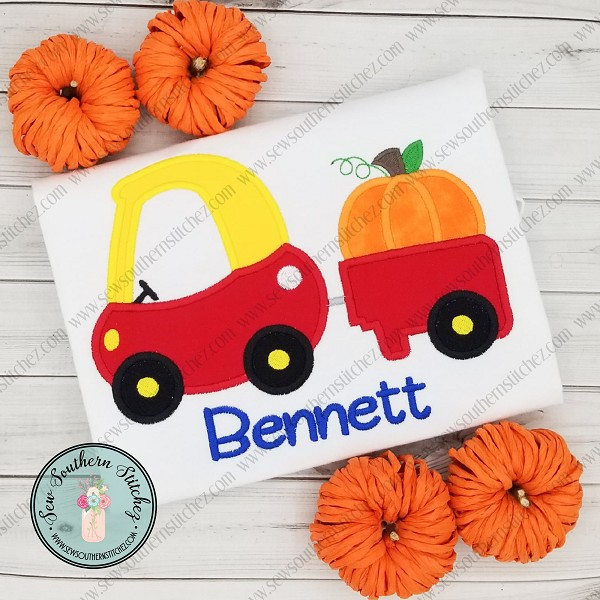 Pumpkin Cozy Coupe Car Applique ~ Girls and Boys Toy Car