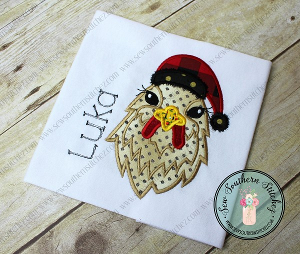 Santa Hat Chicken Head Applique Design ~ Christmas Hen
