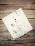 Vintage Boy Bunny Embroidery Design ~ Easter Bunny with Eggs Design