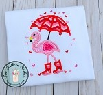 Valentine Flamingo with Umbrella Applique Design