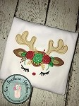 Floral Reindeer Face Applique Design ~ Reindeer Face with Floral Crown