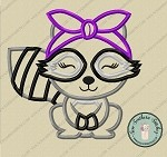 Raccoon Applique Design ~ Raccoon Headband ~ Do Rag ~ Bandana