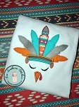 Boy Turkey Face Applique Design ~ Zig Zag Feathers with Headband