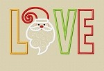 Whimsical Santa with Swirly Beard Love ~ Love Santa Head Applique Design