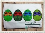 Ninja Easter Eggs Applique Design