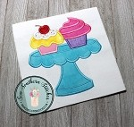 Cupcakes on Plate Applique Design ~ Yummy Cupcakes ~ Sprinkles, Icing with a Cherry on Top