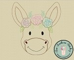 Raggedy Floral Donkey Applique Design ~ Quick Stitch