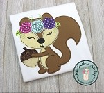 Raggedy Floral Squirrel Applique Design ~ Squirrel with Floral Crown