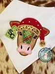 Santa Hat Cow Head Applique Design ~ Tag on Ear for Number or Monogram ~ Satin Finish