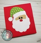 Santa Head Applique ~ Satin finish and Zig Zag Finish