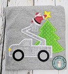 Satin Stitch ~ Utility Truck Santa Applique Design ~ Christmas