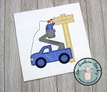 Satin Stitch Utility Truck Applique Design ~ Lineman Bucket Truck