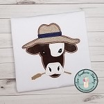 Cow Head Wearing Hat Applique Design ~ Funky Cow with Hat  ~ Satin Stitch Finish