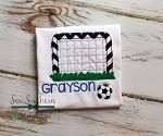 Raggedy Soccer Goal and Ball Applique Design ~ Bean Finish ~ Quick Stitch