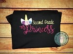 Second Grade Unicorn Princess Embroidery Design ~ Girls Back to School