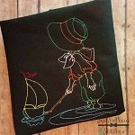 Sketched Boy with Toy Boat ~ Heirloom ~ Vintage ~ Bean Stitched