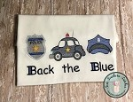 Sketch Filled Back The Blue Embroidery Design ~ Police Trio ~ Badge, Car, Hat