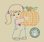 Sketch and Motif Girl Holding Pumpkin Embroidery Design ~ Triple Bean, Sketch, Vintage, Heirloom, Motif