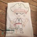 Sketch Pirate Boy Embroidery Design ~ Argh Me Mateys ~ Heirloom ~ Bean ~ Backstitch ~ Vintage