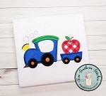 Train Hauling Apple Applique Design ~ Back to School