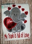 Valentine Elephant - with saying - My Trunk is full of Love