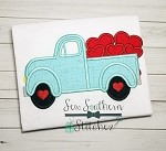 Valentine Truck Applique Design ~ Old Truck Loaded with Hearts