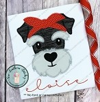 Zig Zag Headband Schnauzer Applique Design ~ Zig Zag Finish Dog Applique