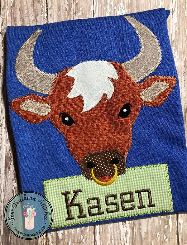 Zig Zag Bull Applique ~ King of the Ranch ~ Bull Horns