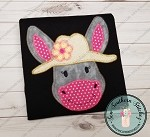 Zig Zag Girl Donkey Head Wearing Hat Applique Design ~ Fun Girl Donkey wearing Hat with Flower