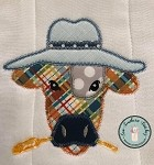 Zig Zag Cow Head Wearing Hat Applique Design ~ Funky Cow with Hat