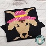 Zig Zag Goat Head Wearing Hat Applique Design ~ Funky Goat with Hat